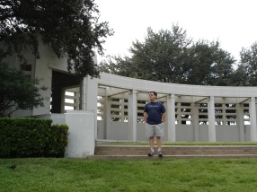 "My friend Ted at the ""Grassy Noll"". It was fascinating to be in the spot where a President was killed. Fantastic museum."