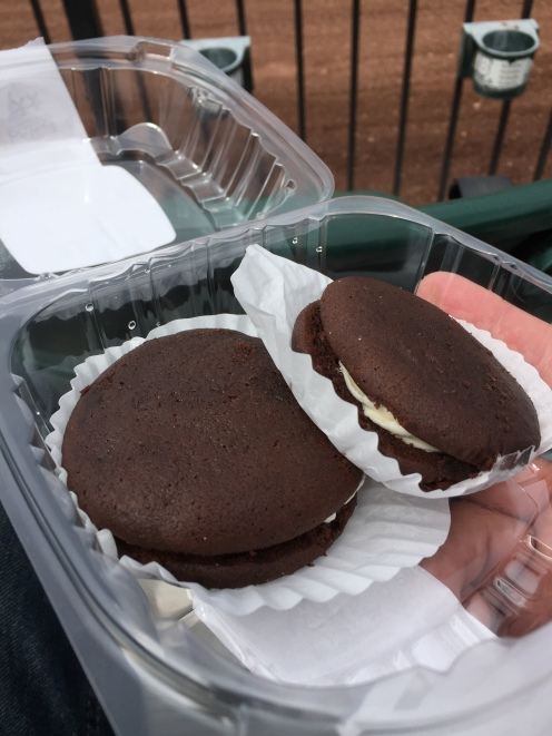 Whoopie Pies, just like my Grandma used to make. I always thought that was something she'd invented growing up until I saw them at various stops over the years.