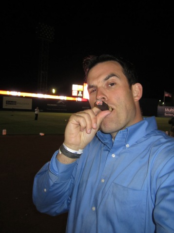 Enjoying a cigar on the field at Cheney Stadium after the last game ahead of their big remodel.