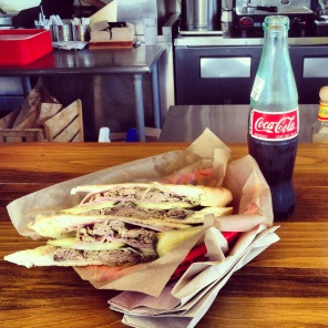 Cuban sandwich and an ice cold Coke in Tampa.