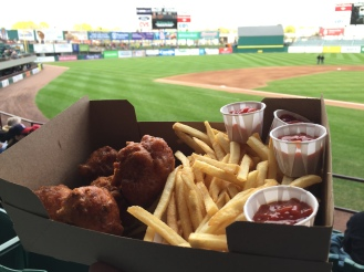 Clam fritters were good, but they needed tarter sauce. I'm always down for the 'regional' ballpark foods.