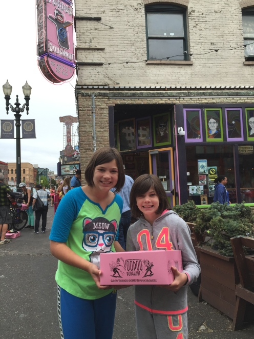 Obligatory Portland trip to Voodoo Donuts with the girls. It's funny to see how tired the girls look. It makes sense after the week we'd had on the road!