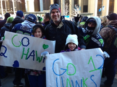 You never know when they'll be back (or win again), so taking the girls to the Super Bowl parade was a MUST.