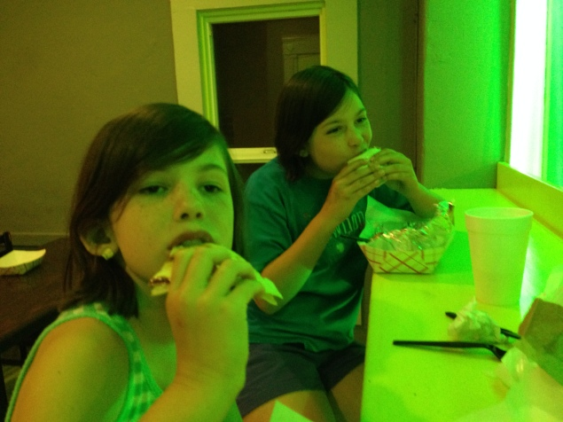 Grabbing late-night tacos and burritos at a place in San Jose. It's always fun to take the girls to new places.