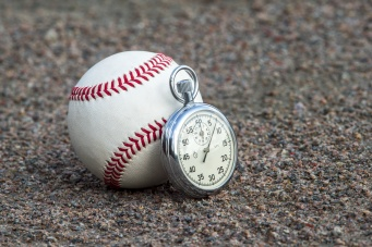 New baseball with an old sport stopwatch